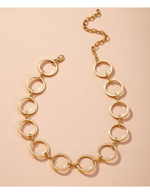 Fashion Golden Round Alloy Hollow Necklace