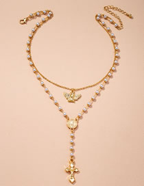 Fashion Golden Pearl Cross Angel Alloy Multilayer Necklace