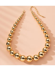 Fashion Golden Alloy Round Bead Thick Chain Necklace