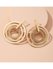 Fashion Golden Large Circle Alloy Hollow Earrings