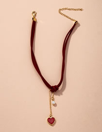 Fashion Red Wine Heart Shaped Pearl Alloy Knotted Necklace