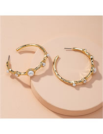Fashion Golden Alloy Earrings With Pearl Circle