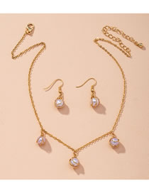 Fashion Golden Pearl Round Alloy Necklace And Earring Set