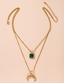 Fashion Golden Horn Square Alloy Multilayer Necklace