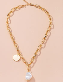 Fashion Golden Round Pearl Thick Chain Alloy Necklace