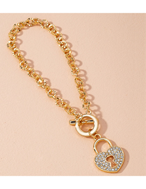 Fashion Rose Gold Heart Lock Diamond Love Heart Thick Chain Alloy Bracelet