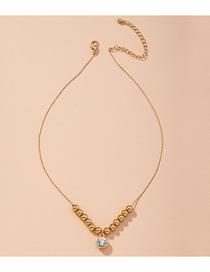 Fashion Golden Beaded Thin Chain Diamond Alloy Necklace