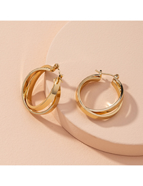 Fashion Golden Large Circle Cross Alloy Earrings