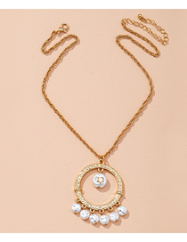 Fashion Golden Pearl Round Five-pointed Star Alloy Necklace