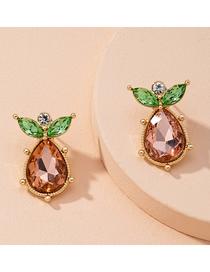 Fashion Almond Brown Geometric Irregular Alloy Earrings With Rhinestones