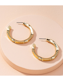 Fashion Golden Concave And Convex Geometry Alloy Earrings