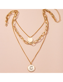 Fashion Golden Multi-layer Alloy Necklace With Diamonds And Letters
