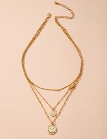 Fashion Golden Geometric Disc Pendant Alloy Multilayer Necklace