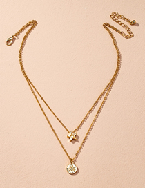 Fashion Golden Five-pointed Star Alloy Geometric Multilayer Necklace