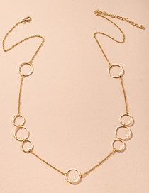 Fashion Golden Round Alloy Hollow Stitching Necklace