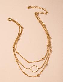 Fashion Golden Round Bead Chain Alloy Round Multilayer Necklace