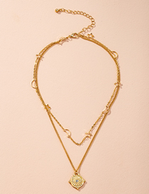 Fashion Golden Crescent Star Alloy Multilayer Necklace