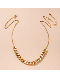 Fashion Golden Thick Chain Stitching Alloy Hollow Necklace