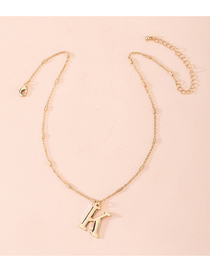 Fashion Golden Letter Thin Chain Alloy Necklace
