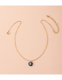 Fashion Golden Moon Pendant Oil Drop Alloy Necklace