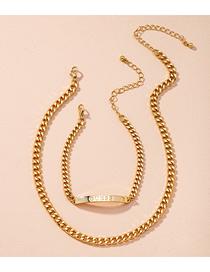Fashion Suit Gold Thick Chain Letter Alloy Bracelet Necklace