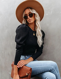 Fashion Black Round Neck Puff Sleeve Loose Solid Color Sweater Top