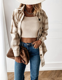 Fashion Apricot Loose Plaid Long Sleeve Shirt Jacket