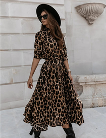 Fashion Big Leopard Long Sleeve V-neck Leopard Print Dress