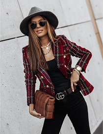 Fashion Red Long-sleeved Double-breasted Suit Collar Printed Coat