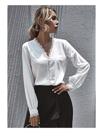 Fashion White Patchwork Lace V-neck Long-sleeved Solid Color Top