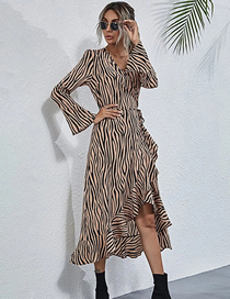 Fashion Zebra V-neck Long-sleeved Ruffled Print Dress