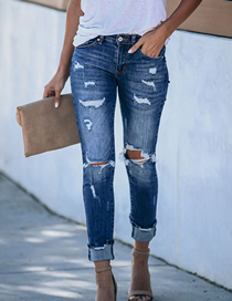 Fashion Dark Blue Washed Ripped Slim-fit Jeans