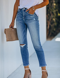 Fashion Blue Ripped Slim-fit Jeans