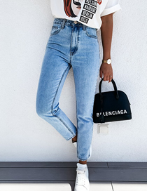 Fashion Light Blue Slim-fit Washed High-rise Jeans