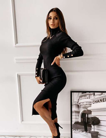 Fashion Black High Collar Button Open Back Long Sleeve Solid Color Dress