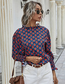Fashion Navy Blue Half Turtleneck Ruffle Sleeve Geometric Print Top
