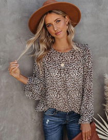Fashion Leopard Round Neck Long Sleeve Leopard Print Loose Top