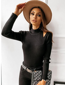 Fashion Black Button Solid Color Long-sleeved Knitted Top