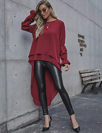 Fashion Red Wine Solid Color Front Long Back Short Dovetail Long Sleeve Dress