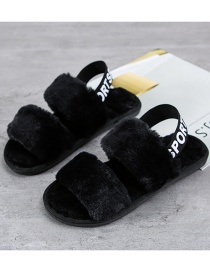 Fashion Black Plush Slippers With Letter Print On Heel