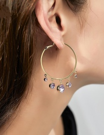 Fashion Purple Pearl Ring And Diamond Alloy Earrings