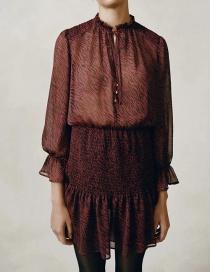 Fashion Dark Red Animal Print Stitching Long Sleeve Dress