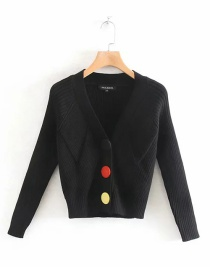 Fashion Black Color Button Contrast Diamond V-neck Knitted Cardigan