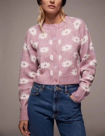 Fashion Pink Floral Print Round Neck Single-breasted Sweater