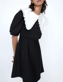 Fashion Black Contrasting Collar Knitted Dress