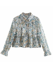 Fashion Green Flower Print Ruffle Blouse