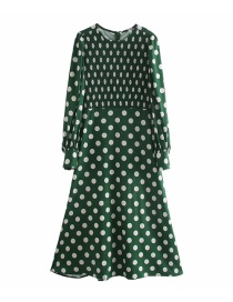 Fashion Green Polka Dot Print Long Sleeve Dress