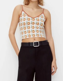 Fashion Orange Jacquard V-neck Knitted Top