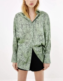 Fashion Green Printed Drape Loose Shirt