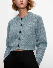 Fashion Haze Blue Ribbed Crew Neck Single-breasted Cropped Coat